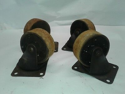 "Complete set 4 Industrial Cast Iron Swivel Caster Wheels Cart Dolly 4"" Antique"