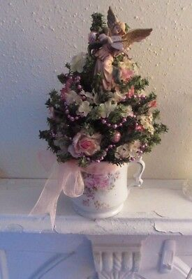 Small Decorated Christmas Tree Shabby Pink Roses Italy Angel Topper