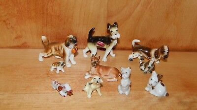 ESTATE FIND Lot 10 Vintage Miniature DOG FIGURINES Bone China JAPAN Boxer