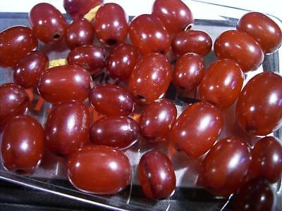 Loose Antique Art Deco Bakelite Cherry Amber Beads For Re-String Marbled Swirls