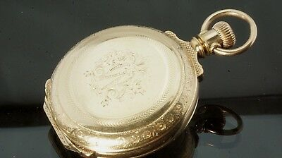 stunning Antique 1887 gold filled Elgin pocket watch grade 94 size 6 ticking