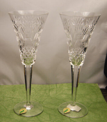 WATERFORD Signed PROSPERITY toasting Flutes 2000 Crystal MINT W/COA & Stickers