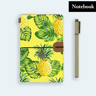 Hand Made Genuine Leather Journal Travel Diary Travelers Notebook Size Pineapple