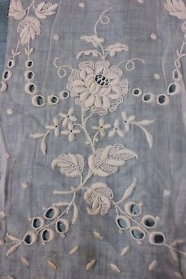 French Antique Hand Embroidered Rose Whitework/Cutwork Sample c1870