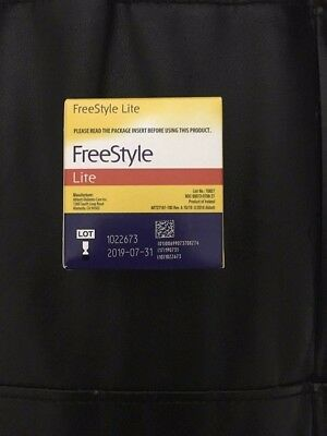 FREE STYLE LITE TEST STRIPS 100 count EXP 07/31/2019 Brand New
