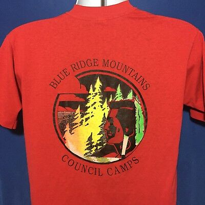 VTG 80s Boy Scouts Blue Ridge Mountain Council T Shirt Native American Indian *M