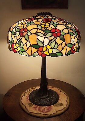 Antique Chicago Mosaic Leaded Slag Stained Glass Handel Duffner Tiffany Era Lamp