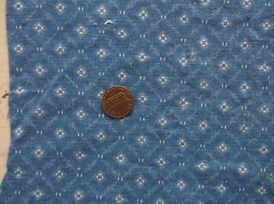 Back In Time Textiles~Antique 1890 PRIMITIVE calico cadet blue fabric~