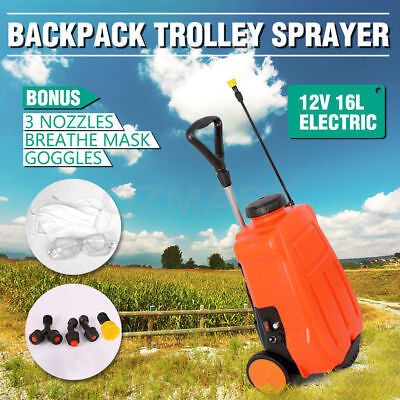 Portable 16L 12V Electric Weed Sprayer Backpack Trolley Tank Garden Spot Spray