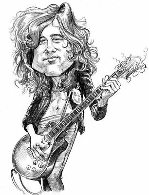 Led Zeppelin Jimmy Page Caricature Stairway Heaven Sticker or Magnet