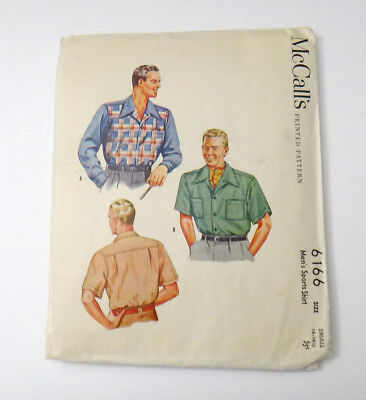 1945 McCall's Sewing Pattern 6166 Mens Sport Shirt Size Small 14-14-1/2 Vintage
