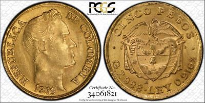 1919-A Columbia 5 Peso Gold Pcgs Secure Ms64+ ***with Two Major Varieties***