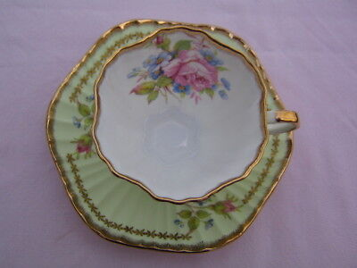 Foley Ruffled Light Green Cup and Saucer W/Florals