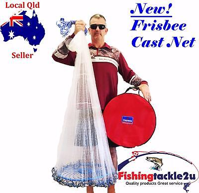 "Drawstring Frisbee 8 ft 3/4"" Cast Net Mono Bait Fishing Quality Japanese Mesh"