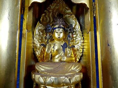 Japanese Antique Buddhist Statue in Zushi Shrine Lacquered wood Gold gilt C1930