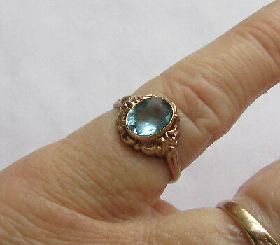 Antique Blue Stone Pinky Ring in solid 10K rose gold, quite worn, wear or scrap