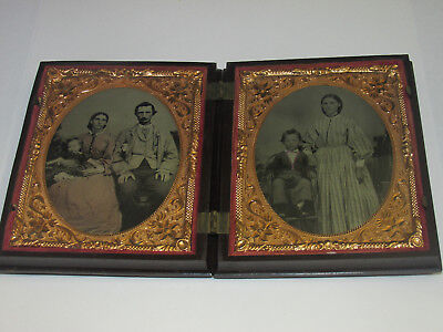 Civil War Era Cased Tintype, Two in One Case, Family Photo w/ Baby, Ornate Case