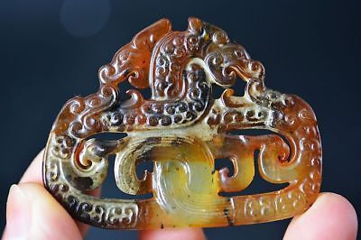 Exquisite Chinese old Jade Carved *Dragon/Phoenix* Amulet Pendant C37