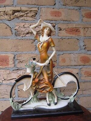Rare Vintage Retro Girl With Bicycle Med/large Figure . Rm