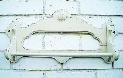 ***SOLD***    Vtg Charming CREAMY White French Farmhouse Wood Towel Rack Holder
