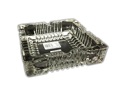 Square Clear Glass Ashtray Butt Ash Tray 10.5cm New