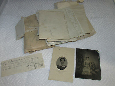 Civil War Era Correspondence & Tintype Photos, Hair & letters, from lot of Photo