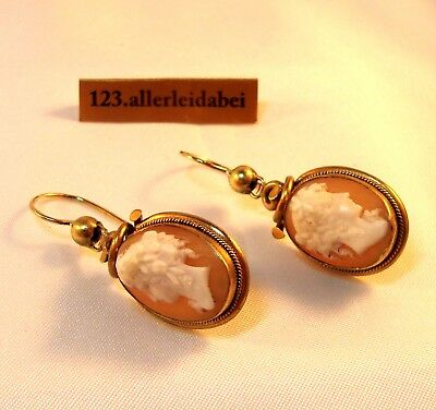 Biedermeier Gemme Ohrringe Cameo Ohrhänger Ohrgehänge old Earrings / BC 559