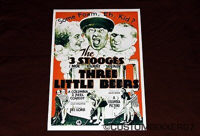 The 3 Stooges Three Little Beers Theater poster Lobby card print Moe Larry Curly