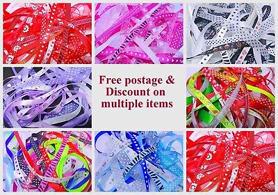 10 Metre Bundle of Mixed Ribbon off cuts Assorted Colours/sizes Premium Quality