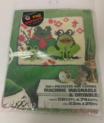 """Vintage Coats & Clark Red Heart Latch Hook Rug Canvas Froggy Family 23"""" x 29"""""""