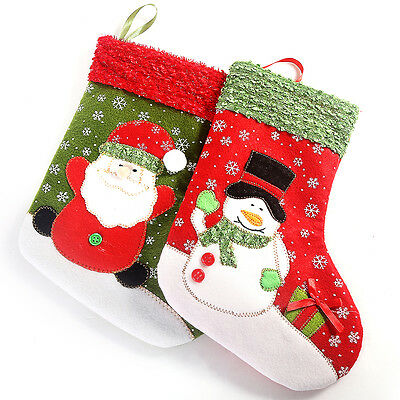 Snowman Embroidery  Santa Clause Gift New Year Hanging Stockings Christmas Decor