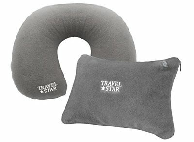 Travel Star TS-4002 Set di 2 N: – Cuscino cervicale gonfiabile + cuscino in gri