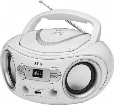 Tragbarer CD-Player mit CD, MP3, USB, Aux-In AEG Boombox SR 4374 weiss