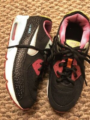 Girls Youth Nike Air Max 90 Athletic Shoes  Size 3Y Black Pink Volt Aqua Silver