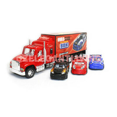Kids Friction Power Toy Truck Transporter Van with 3 Vehicle Cars Gift