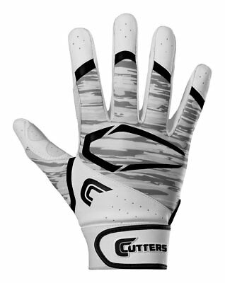 Cutters Men's Power Control 2.0 Batting Gloves, 1 Pair, White/Black, Adult Small