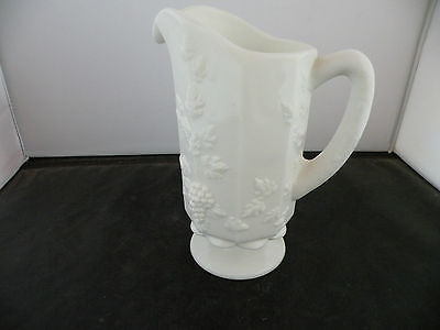 Vintage Westmoreland Paneled Grape White Milk Glass Pitcher, thick & heavy