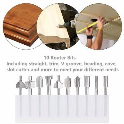 "10Pcs Router Bit 1/8"" Shank For  Dremel Rotary Tools DIY Woodworking, Carving"