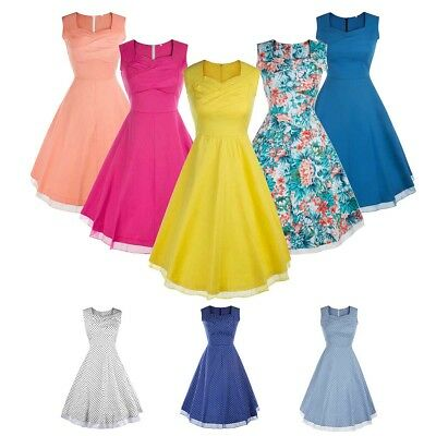 1950s 1960s Women Vintage Swing Dress Pinup Rockabilly Cocktail Evening Party