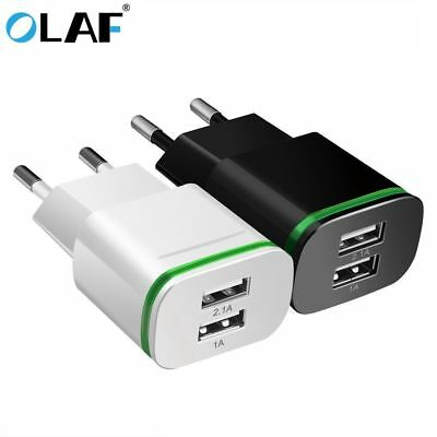 NEW 2.1A Dual USB Wall Charger Plug Power Adapter For iPhone Android Samsung LG