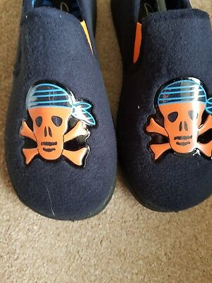 Boyes size 1G Clarks slippers. Navy blue material. Never used.