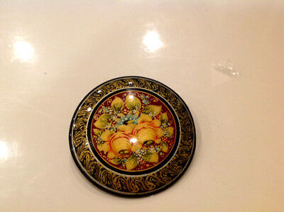 """Russian Mstera  Papier-Mache lacquer Brooch """"FLOWERS""""Signed"""