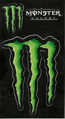 """Monster Energy Drink 4""""  Green Claw Sticker Decal+2 Smaller Stickers. Authentic."""