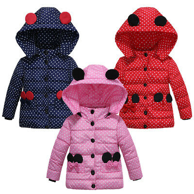 Kids Baby Girls Minnie Hooded Jacket Coat Polka Dot Winter Warm Snowsuit Outwear