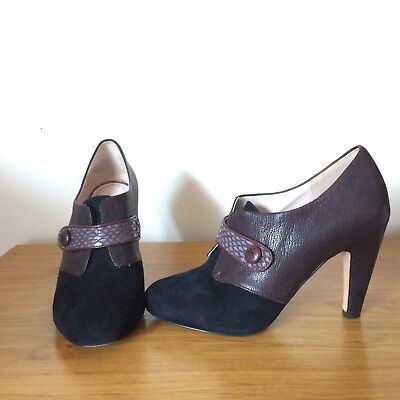 TRACY REESE Women's Black + Brown Leather Heels Shoes Pumps Size 38.5 (7.5AU)