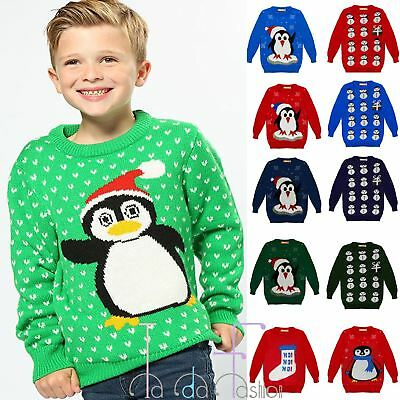 Clearance New Childrens Kids Winter Xmas Penguin Snowman Jumper Knitted Sweater