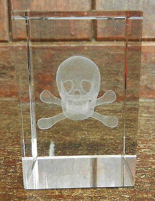 Crystal Block with Laser Etched Skull & Crossbones - Pirate - BNIB Gift Boxed