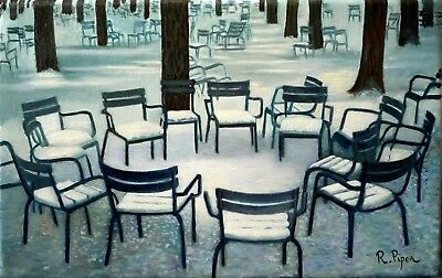 Chairs in the park under the snow