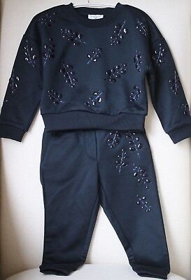 Monnalisa Girls Black Embellished Tracksuit 3 Years