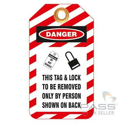 Lockout Tagout Tags - 'This Tag and Lock Only to Be Removed by...' - Pack of 10